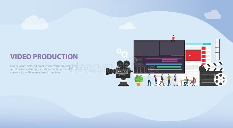 Film video production concept with team people and camera editing with team people for website template or landing banner - vector. Illustration stock illustration