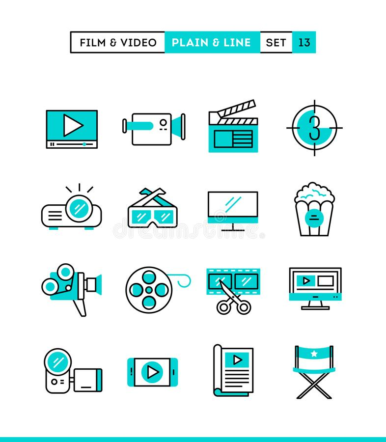 Film, video, shooting, editing and more. Plain and line icons se stock illustration
