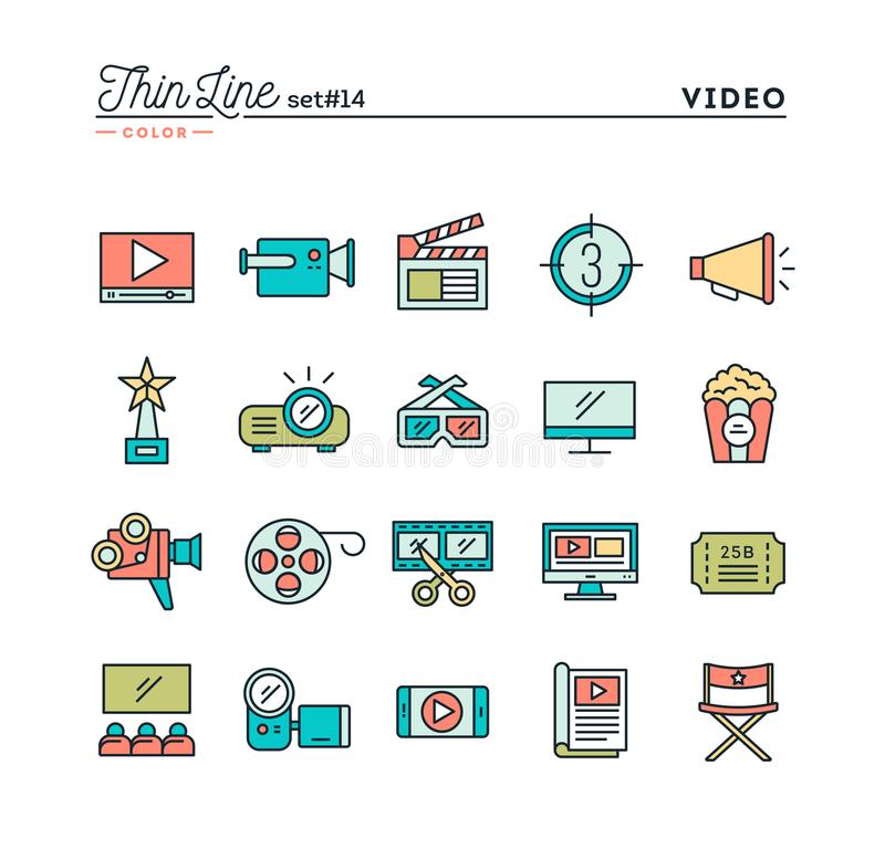 Film, video, shooting, editing and more, thin line color icons s. Et, vector illustration vector illustration