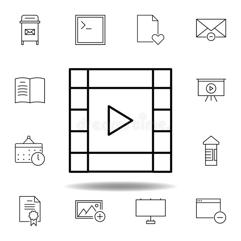 film video strip outline icon. Detailed set of unigrid multimedia illustrations icons. Can be used for web, logo, mobile app, UI, vector illustration