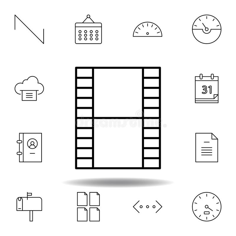 Film video strip outline icon. Detailed set of unigrid multimedia illustrations icons. Can be used for web, logo, mobile app, UI,. UX on white background royalty free illustration