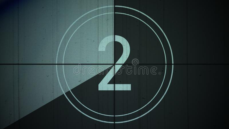Film vintage countdown number 2 two background royalty free stock images