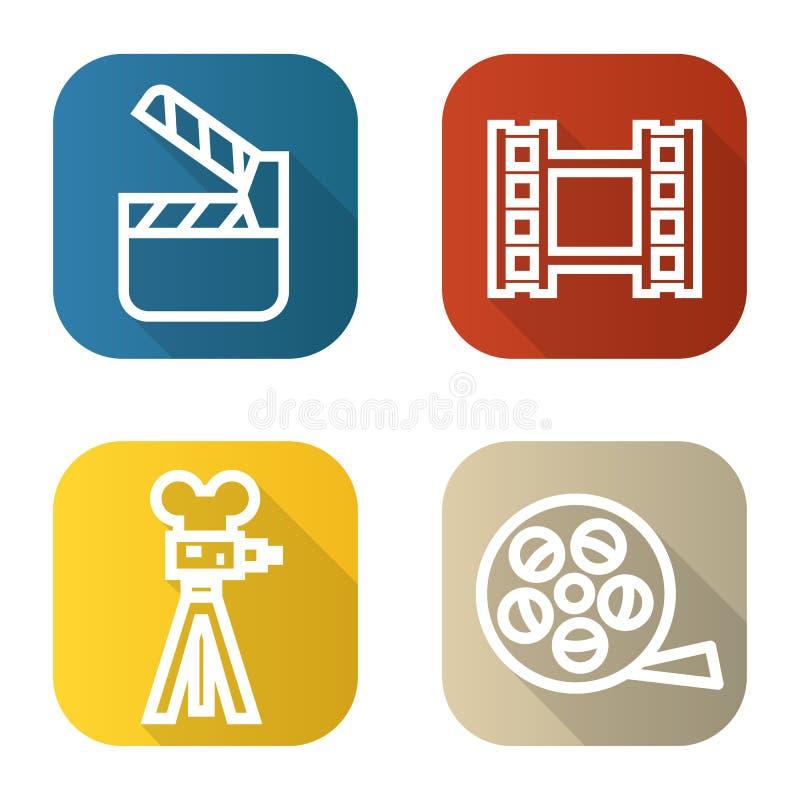Filma den plana linjära långa skuggasymbolsuppsättningen Filma kameran, videoen, rullen, filmclapperboard bakgrundsillustrationli vektor illustrationer