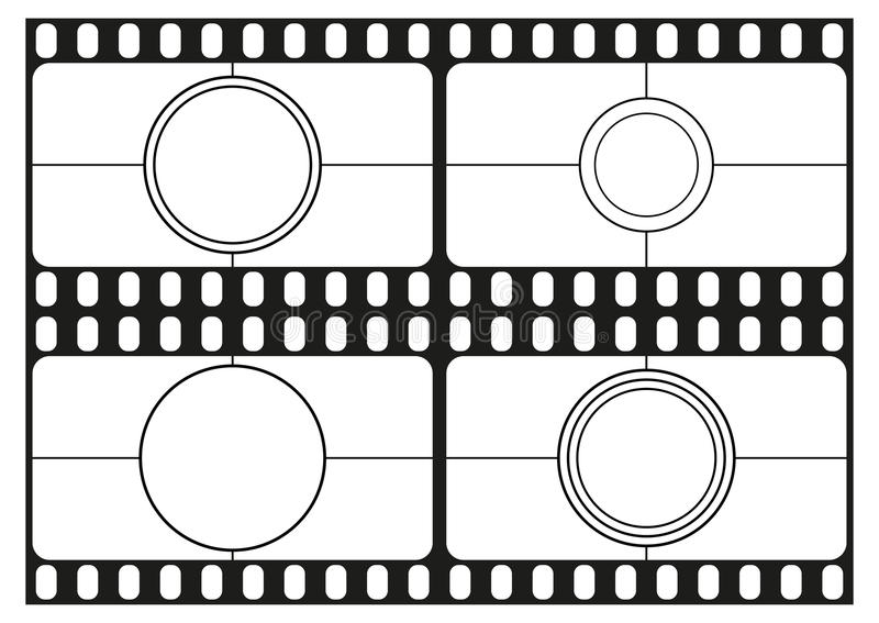 Filma nedräkningmallar, filmbiograframen, filmremsor gränsar, vektorn stock illustrationer