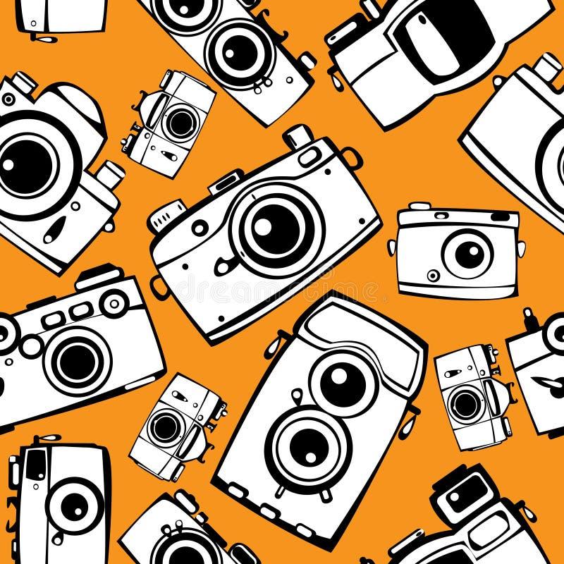 Filma seamless fotokameror mönstrar vektor illustrationer
