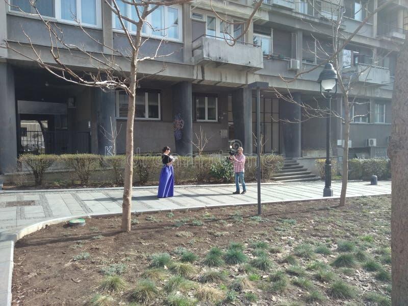 Filmación de una escena en Belgrado, Serbia imagenes de archivo