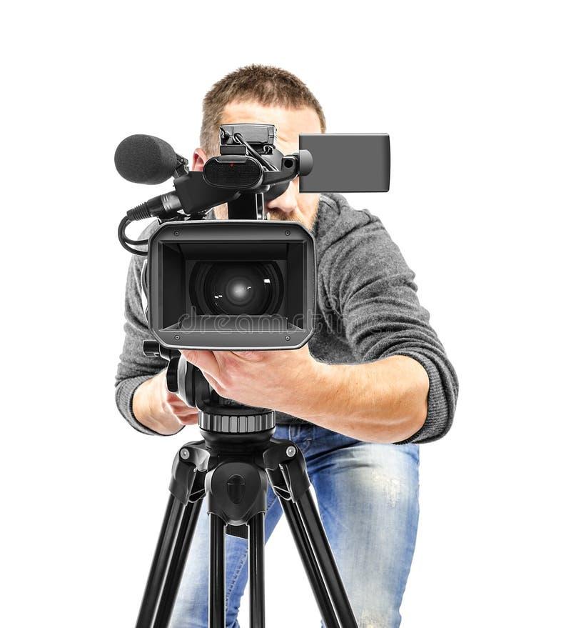 Filmad videokameraoperatör fotografering för bildbyråer