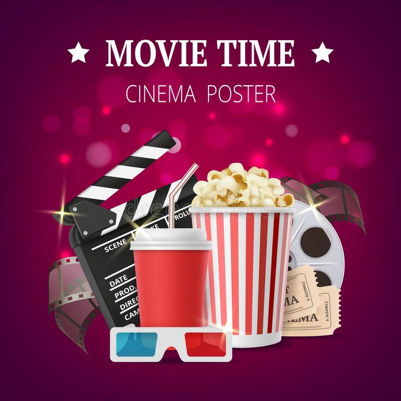 Filmaffisch Mallen för bioplakatdesignen med symboler för filmproduktionvektor tejpar stereo- exponeringsglaspopcorn vektor illustrationer