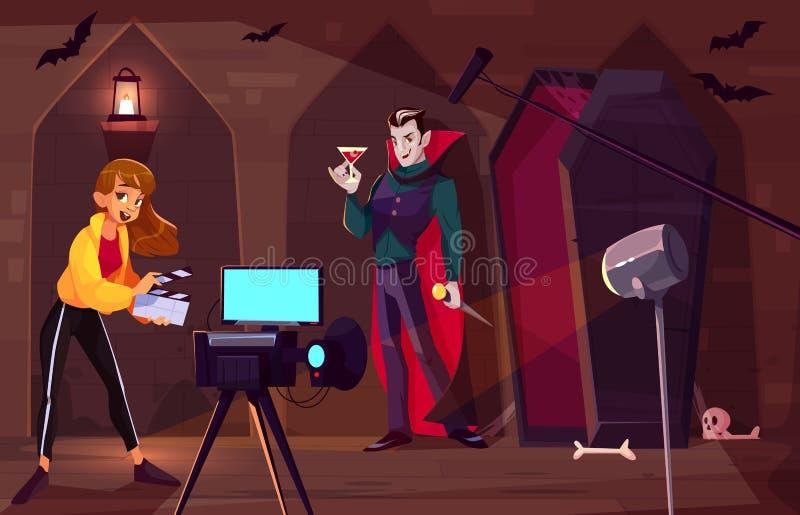 Filmando o filme sobre o conceito do vetor dos desenhos animados do vampiro ilustração royalty free