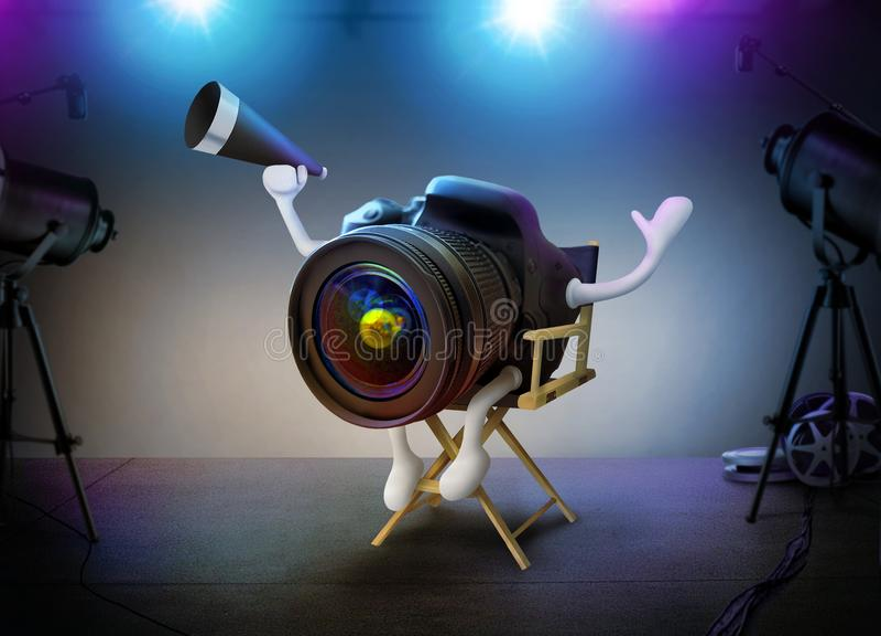 Filmbühne der Kamera-DSLR Direktorn-On A lizenzfreies stockbild