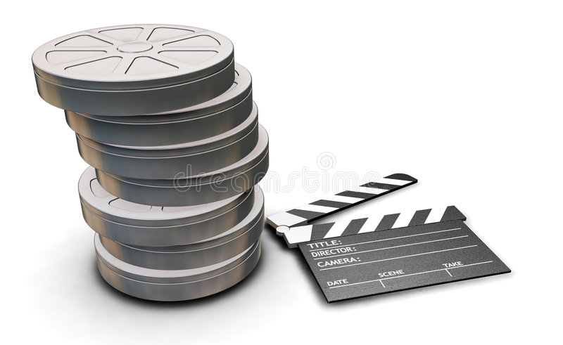 Filmbandspulen und Scharnierventilvorstand stock abbildung