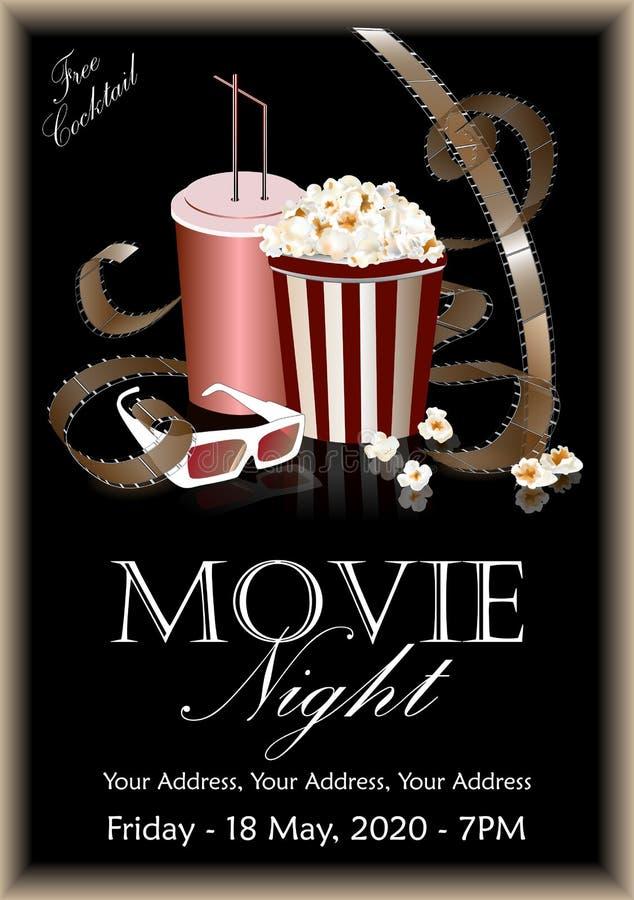 Filmbaner Popcornask med cola och exponeringsglas 3D royaltyfri illustrationer