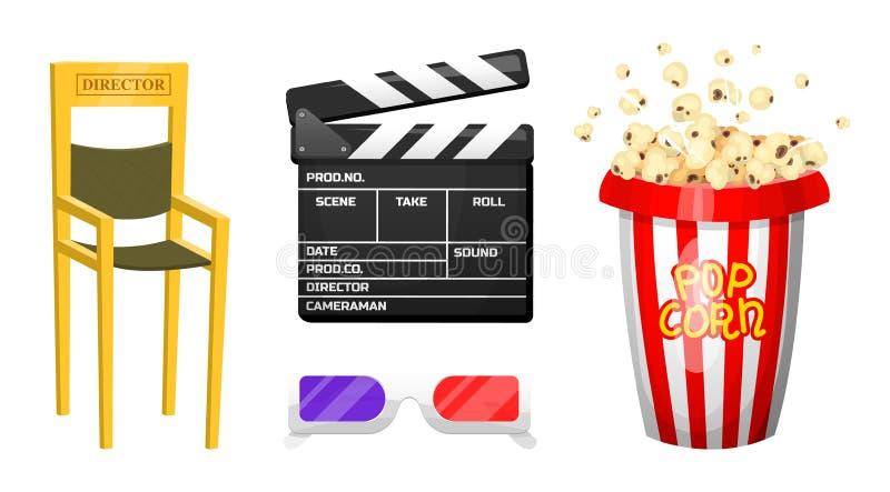 Filmbeståndsdelar Tappningbio, underhållning och rekreation med popcorn Retro Clapperboard Filmmaking och video vektor illustrationer
