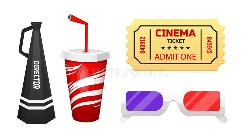 Filmbeståndsdelar Tappningbio, underhållning och rekreation Retro affischbakgrund Filmmaking och videokassett stock illustrationer