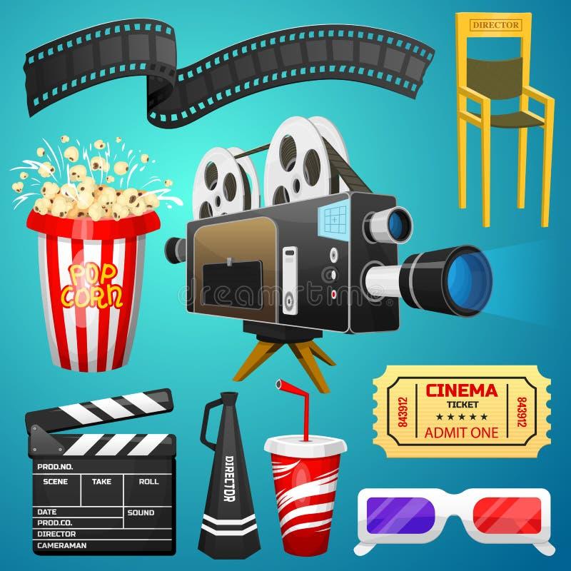 Filmbeståndsdeluppsättning Tappningbio, underhållning och rekreation med popcorn Retro affischbakgrund Clapperboard och royaltyfri illustrationer
