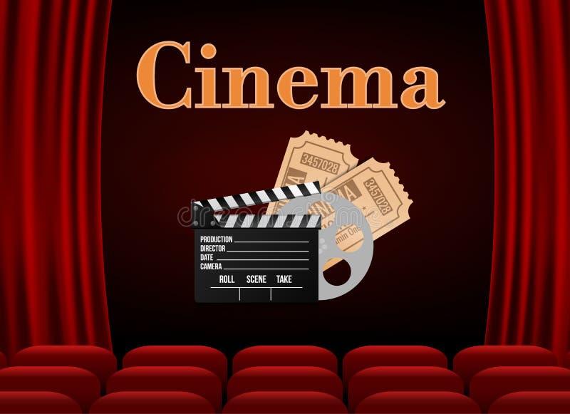 Filmbiograf med rad av rött platspopcorn och biljetter Premiärhändelsemall Online-biokonstfilm På toppen showdesign vektor illustrationer