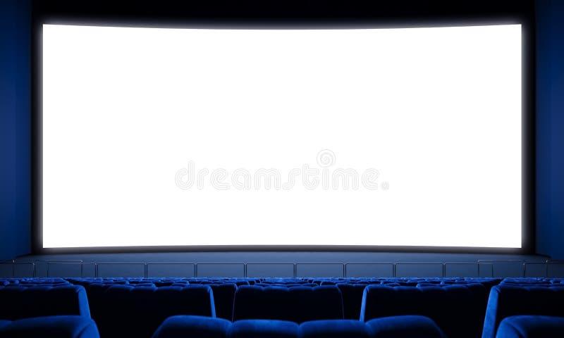 Filmbiograf med tomma platser och den stora vita skärmen 3d framför royaltyfria bilder