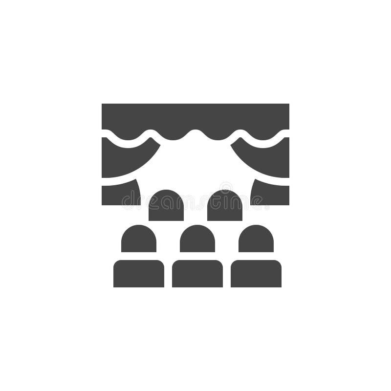 Filmbiografsymbol Folk som beskådar kapacitet, premiär, operan eller annan händelsebegreppsetikett Isolerad vektor royaltyfri illustrationer