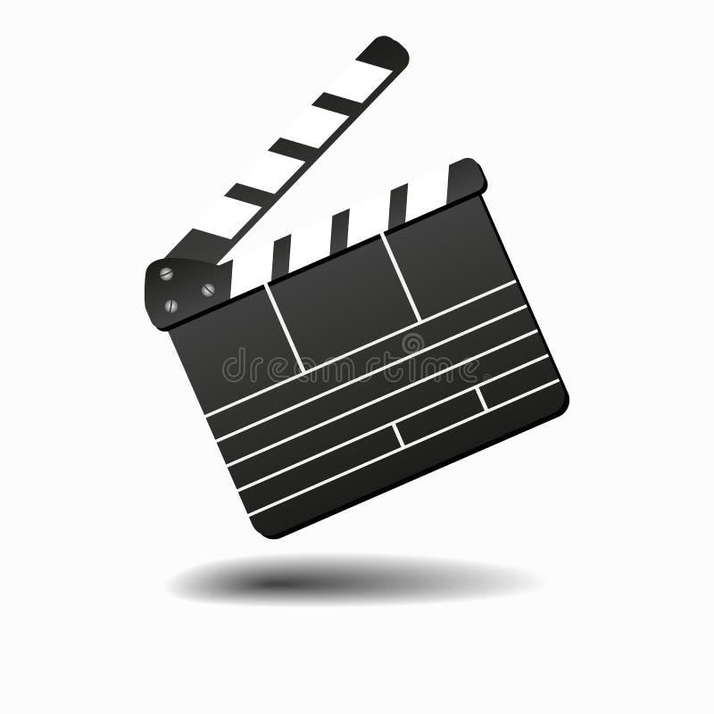 Filmclapperboard eller filmclapper som isoleras på den vita vektorillustrationen Clapperboard för videogemet, brädeapplåd för stock illustrationer