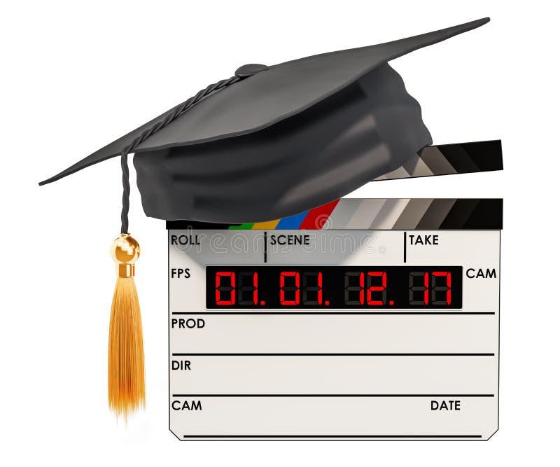 Filmclapperboard med avläggande av examenlocket Utbildning i begreppet för filmskola, tolkning 3D vektor illustrationer