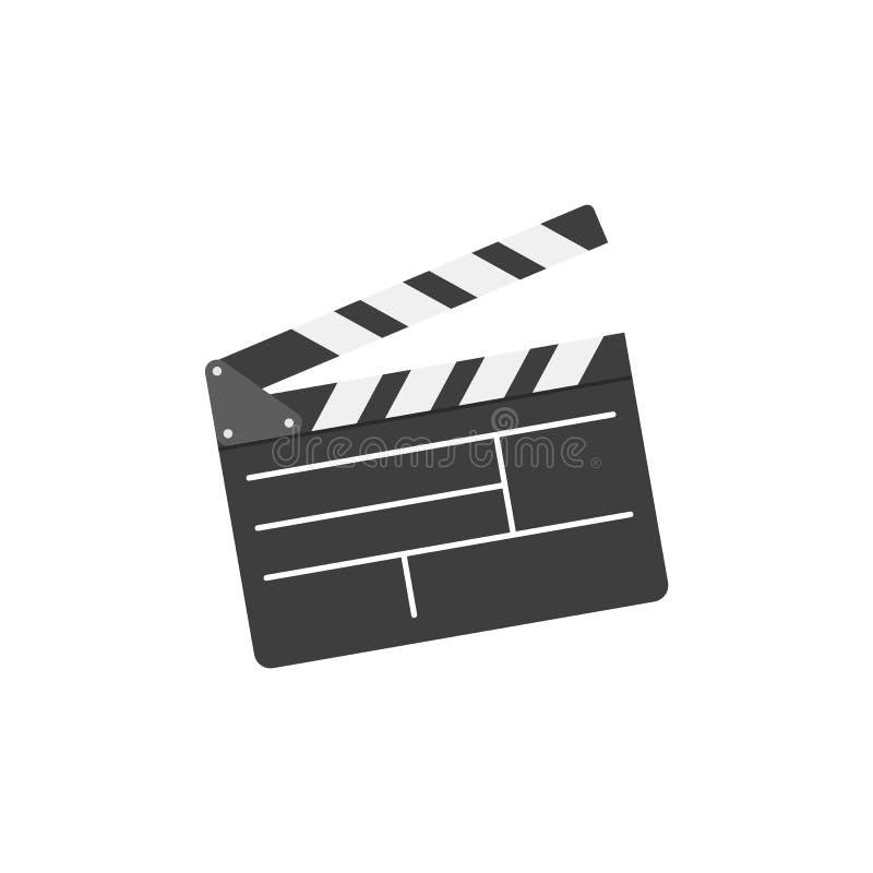 Filmclapperbräde i plan stil Biosymbolsuppsättning vektor illustrationer