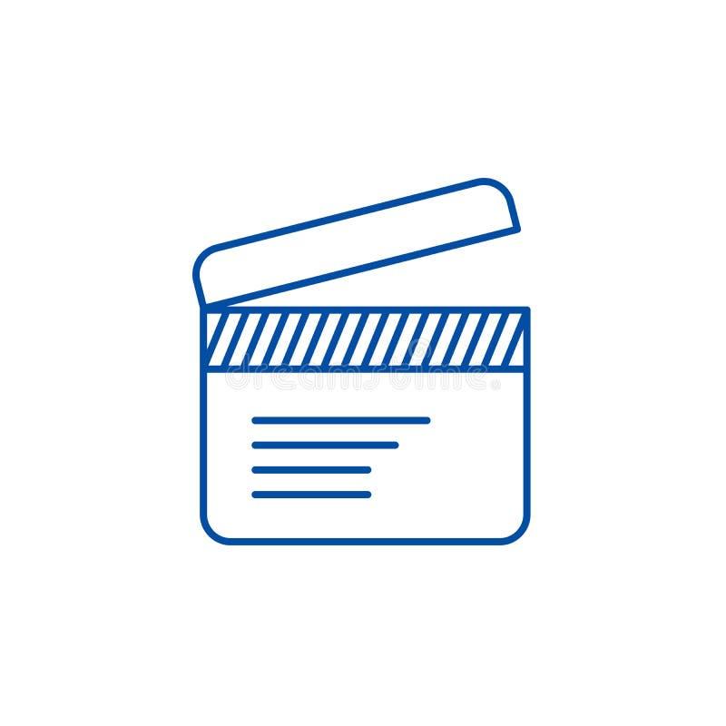 Filmclapperlinje symbolsbegrepp Symbol för vektor för filmclapper plant, tecken, översiktsillustration vektor illustrationer