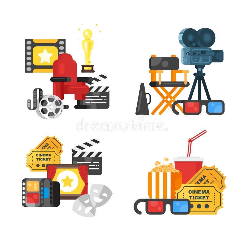 Filmdesignuppsättning av begreppet med biosymboler vektor illustrationer