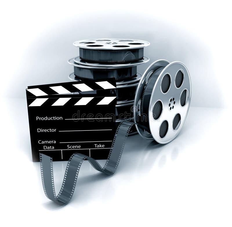 Filme a ardósia com o carretel de película do filme ilustração stock