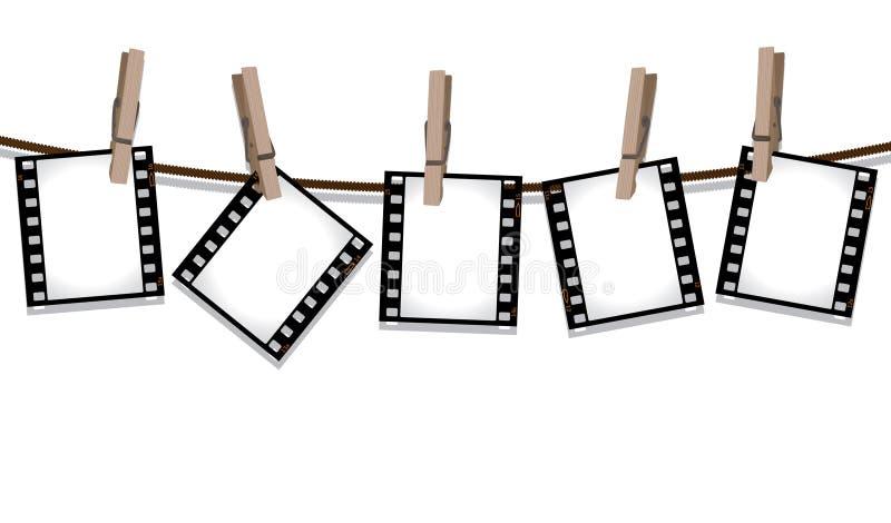 Filme as tiras que penduram para fora para secar ilustração royalty free
