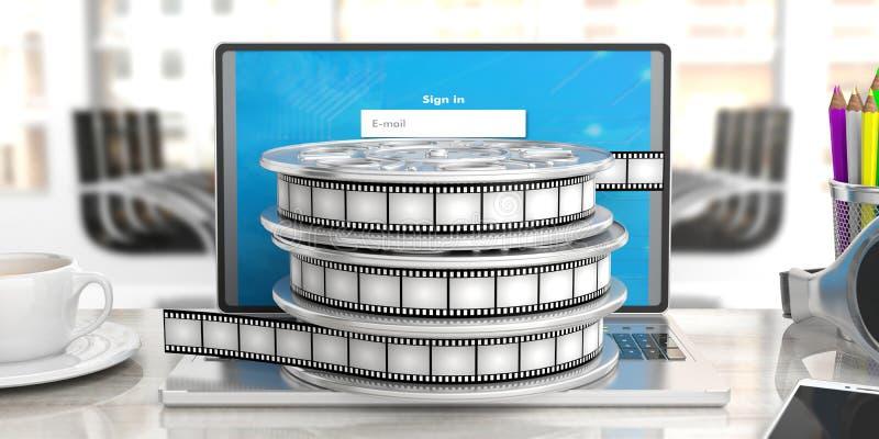 Filme carretéis do filme em um portátil em um fundo obscuro do escritório, ilustração 3d ilustração do vetor