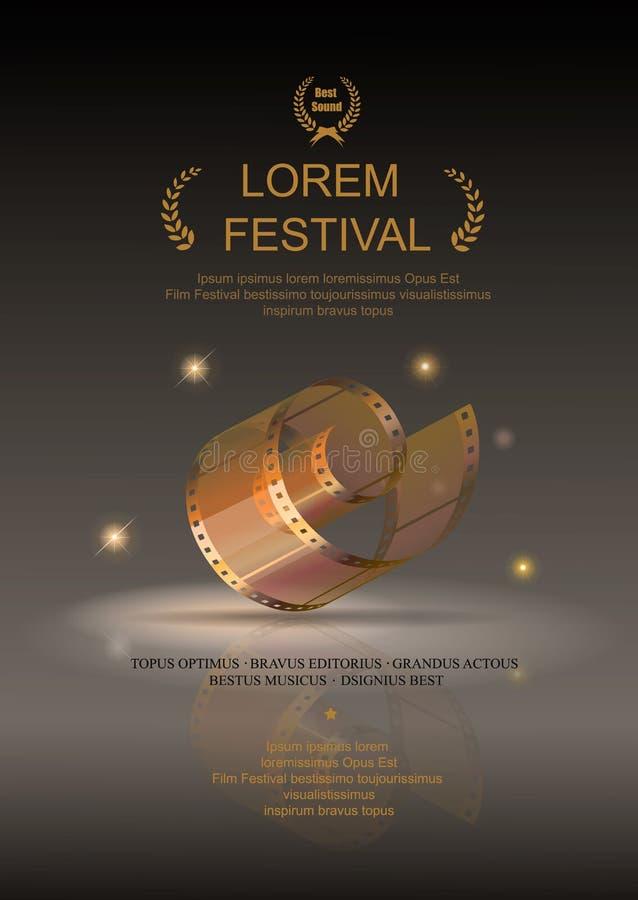Filme da câmera 35 milímetros de ouro do rolo, cartaz cinematográfico do festival ilustração stock