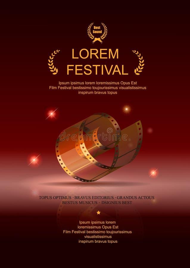 Filme da câmera 35 milímetros de ouro do rolo, cartaz cinematográfico do festival ilustração do vetor
