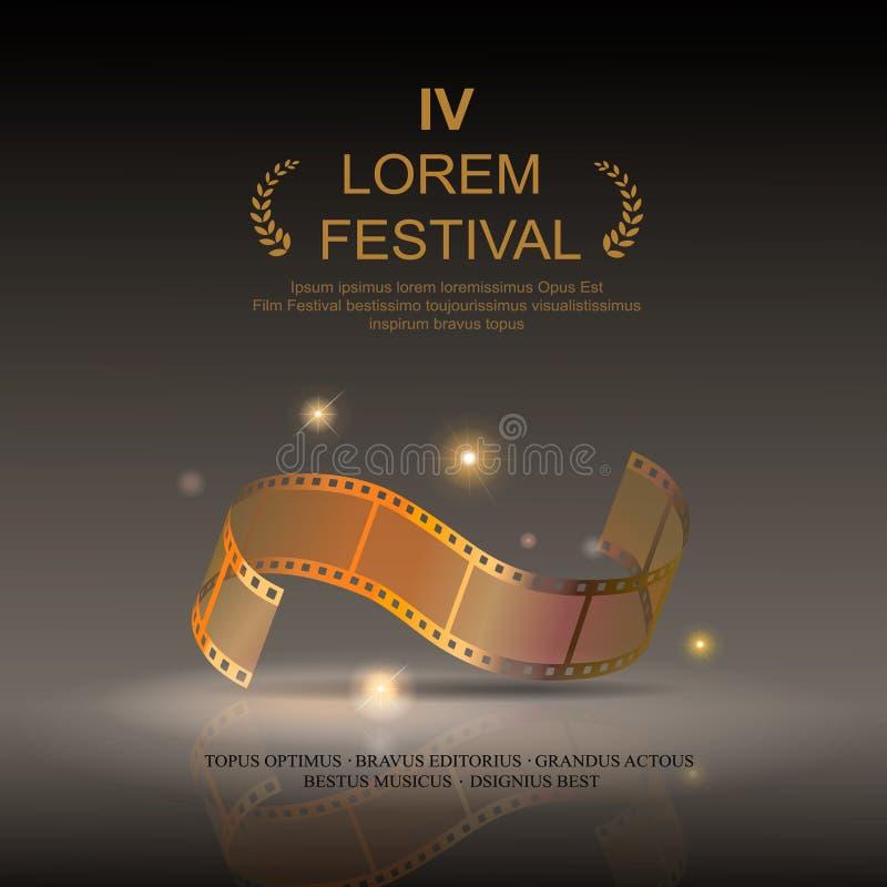 Filme da câmera 35 milímetros de ouro do rolo, filme do festival ilustração royalty free