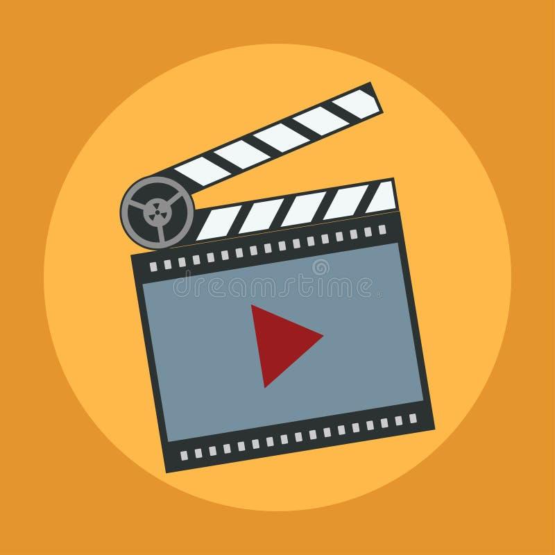 Filme do ícone, reprodutor multimedia, projeto liso ilustração royalty free