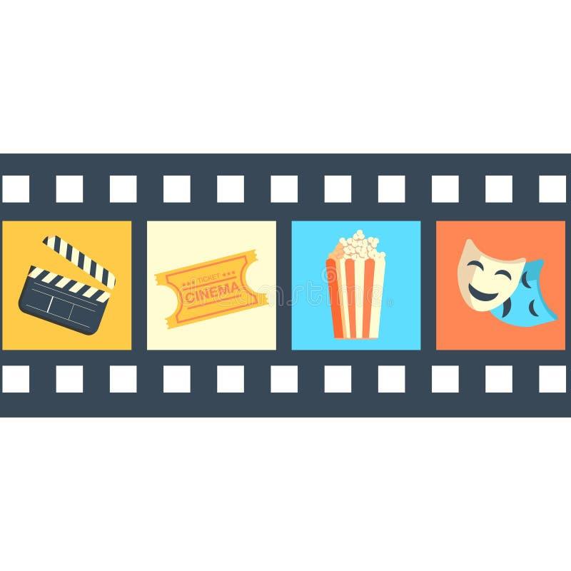 Filme dos ícones do filme de tira do festival do cinema do cartaz ilustração do vetor