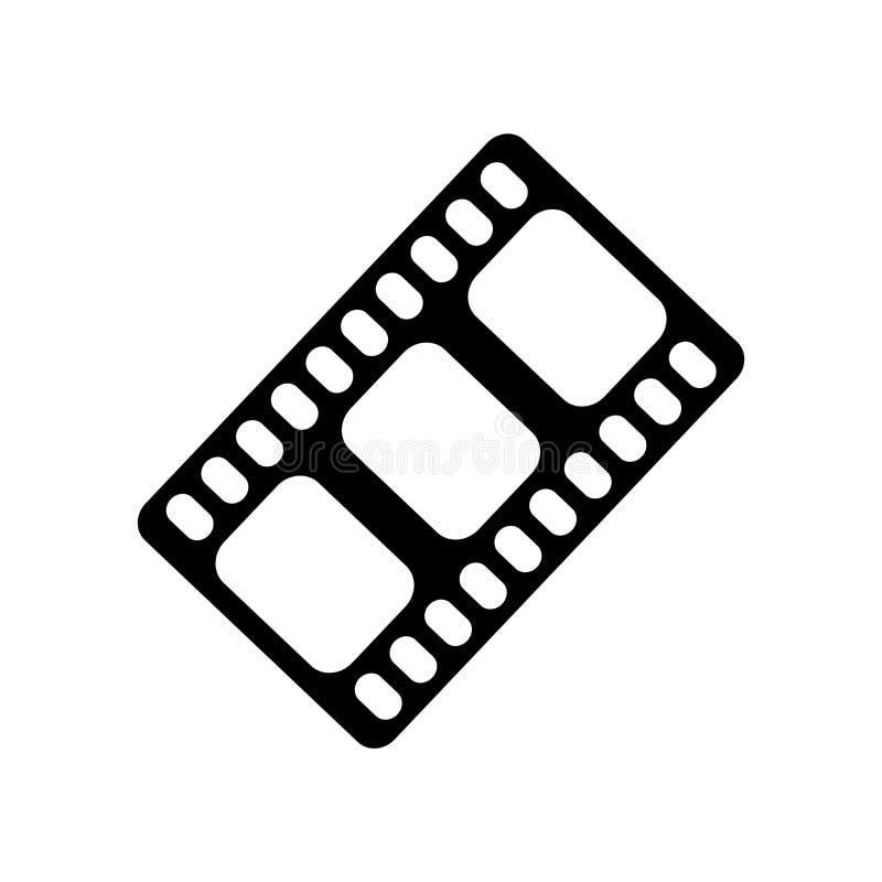 Filme la muestra negra y el símbolo del vector del icono de la tira aislados en b blanco ilustración del vector