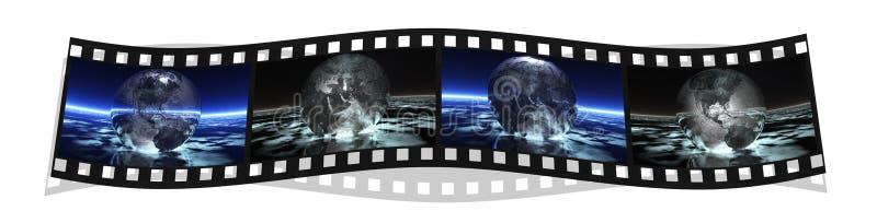 Filme la raya con 4 imágenes de la tierra stock de ilustración