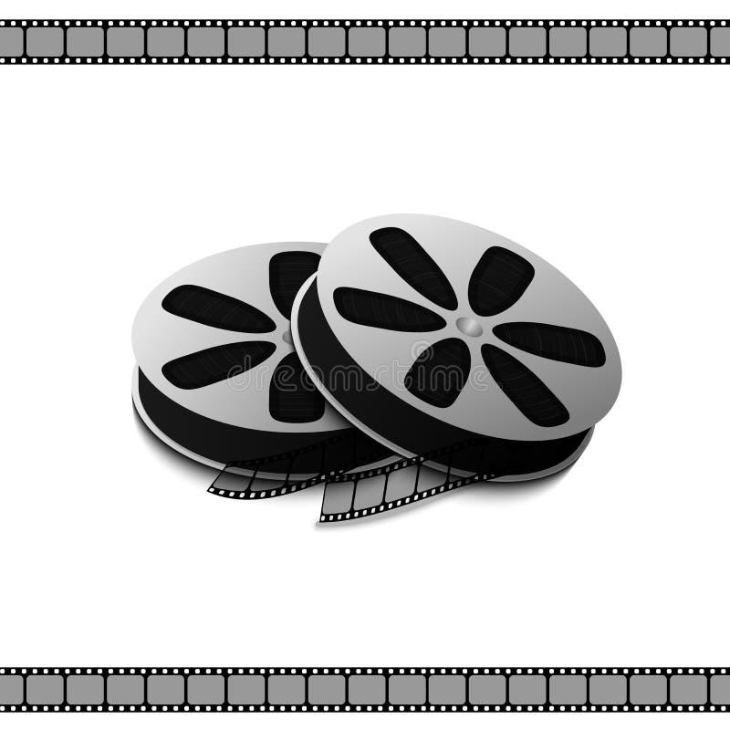 Filme la videocámara de la bobina para las películas y los vídeos de registración aislados stock de ilustración