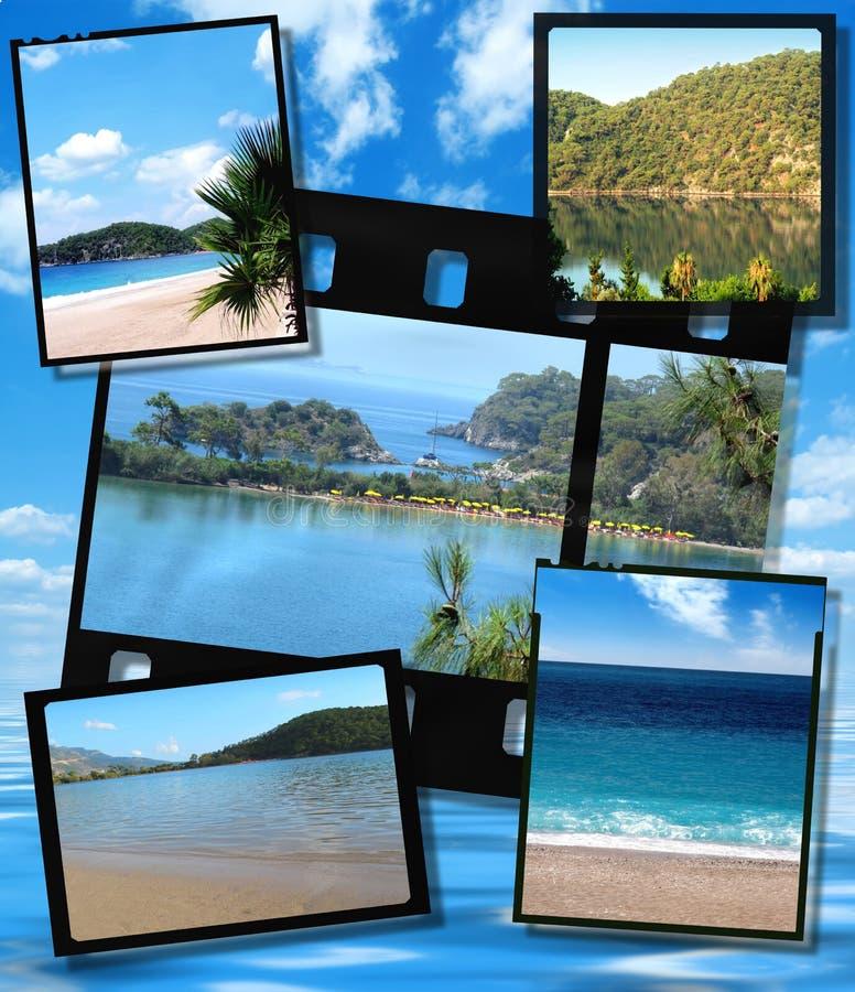 Filme las placas de la tira y de la película, imagen azul de la laguna imágenes de archivo libres de regalías