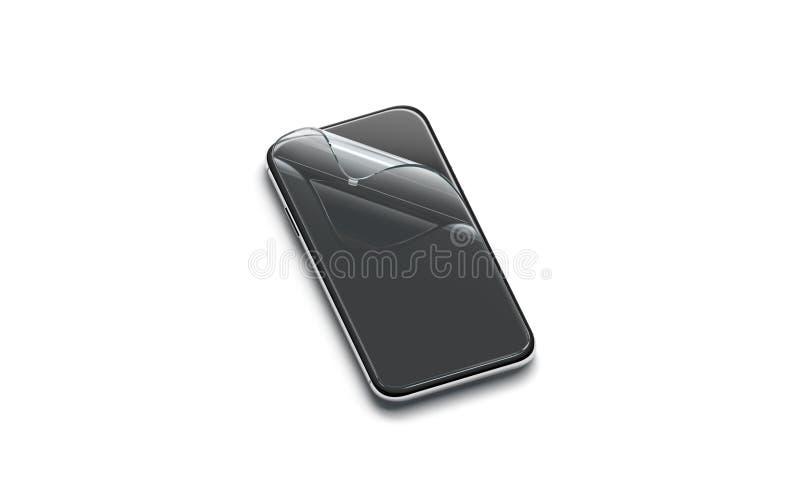 Filme transparente curvado placa da proteção na zombaria da tela do telefone acima ilustração do vetor