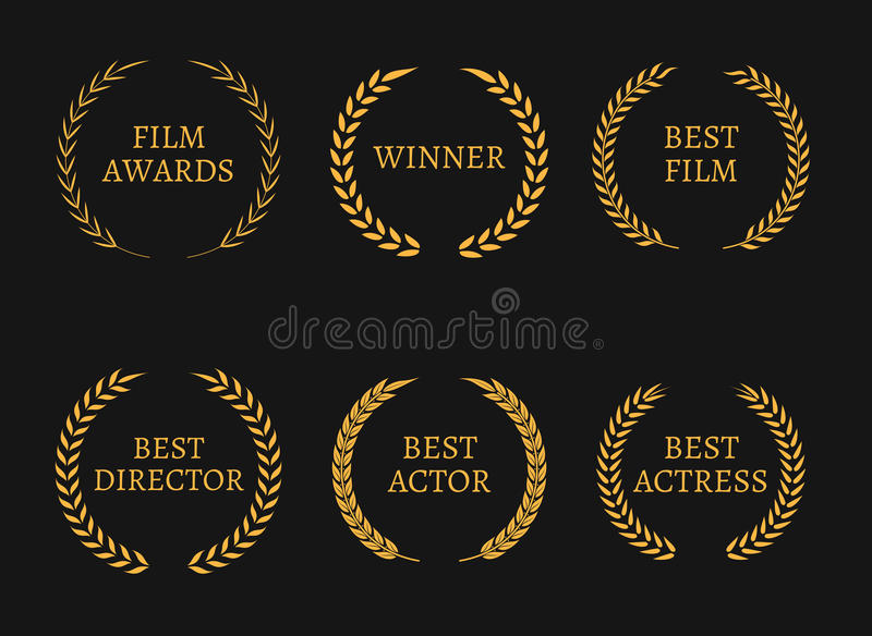 Filme vencedores dos prêmios da Academia e as melhores grinaldas do ouro do candidato no fundo preto ilustração stock