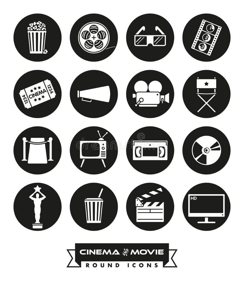 Filmen och den runda fasta symbolsvektorn för bio ställde in stock illustrationer