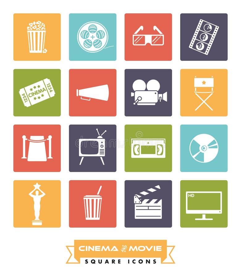 Filmen och vektorn för symboler för biofyrkantfärg ställde in vektor illustrationer