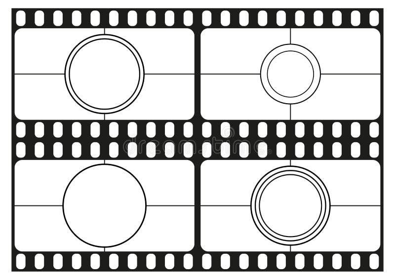 Filmen Sie Count-downschablonen, Kinorahmen, Filmstreifen Grenze, Vektor stock abbildung
