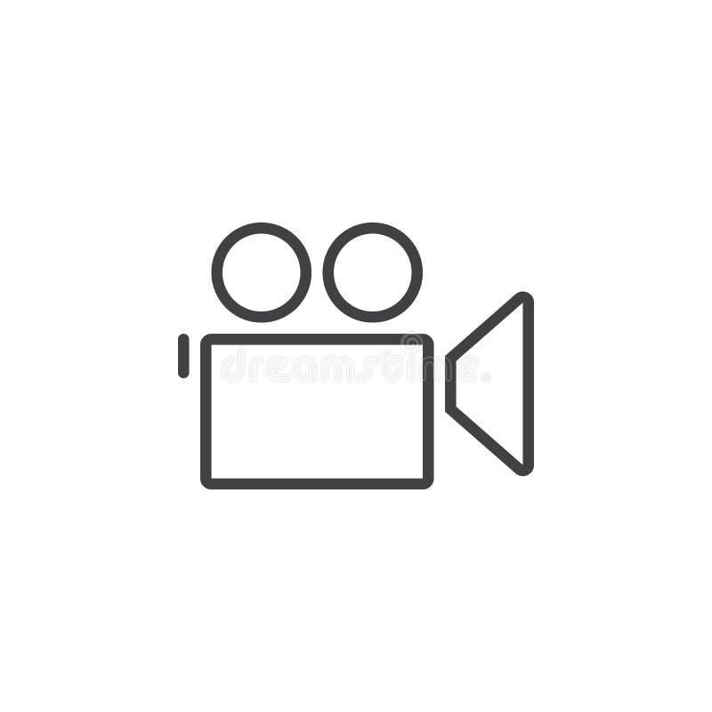 Filmen Sie Kameralinie Ikone, die Entwurfslogoillustration, linear lizenzfreie abbildung