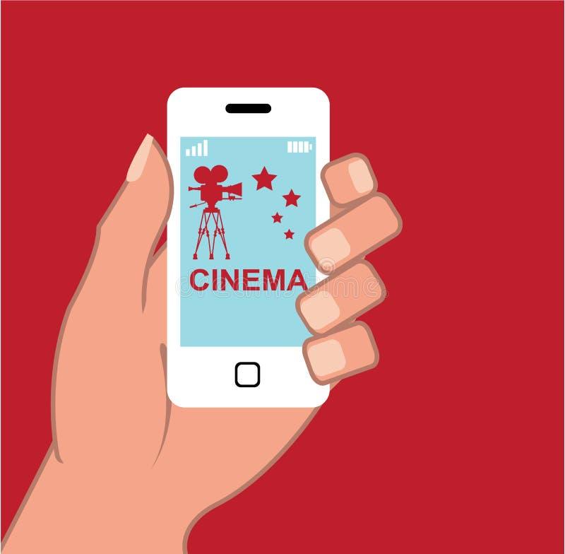 Filmer för vektor för App för Smartphone vektorbio royaltyfri illustrationer
