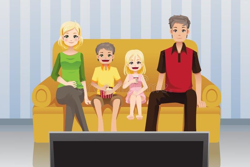 Filmes de observação da família em casa ilustração royalty free
