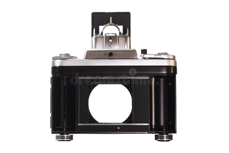 Filmez l'appareil-photo regardant par un volet de rideau en appareil-photo images libres de droits