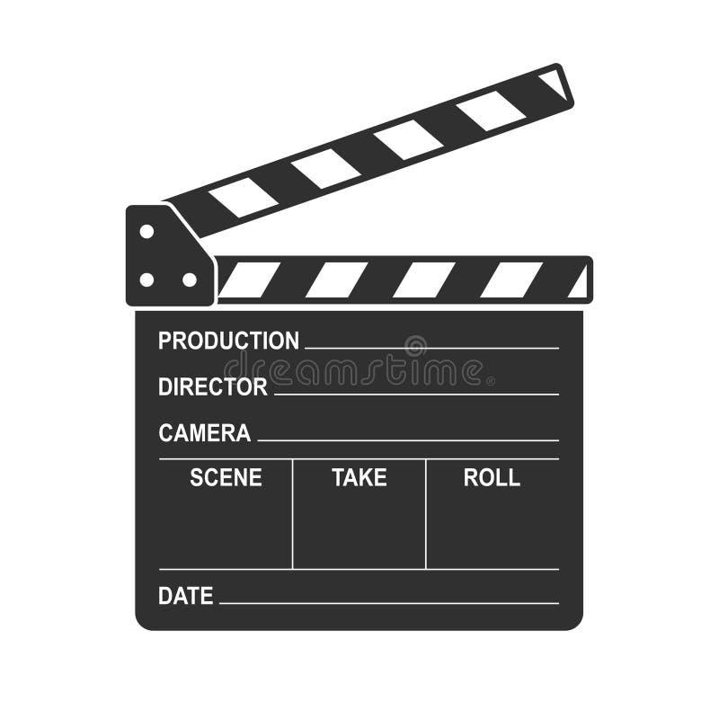 Filmez l'icône de panneau de clapet d'isolement sur le fond blanc Cinéma vide de clapet de film illustration stock
