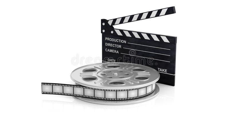 Filmez la bobine de film et un clapet de film sur un fond blanc, d'isolement, l'illustration 3d illustration de vecteur